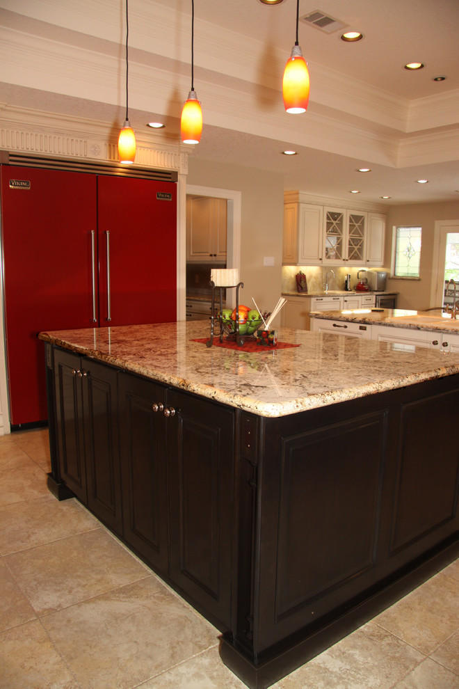astonishing white kitchen red accents | Traditional white kitchen with bright red appliances ...