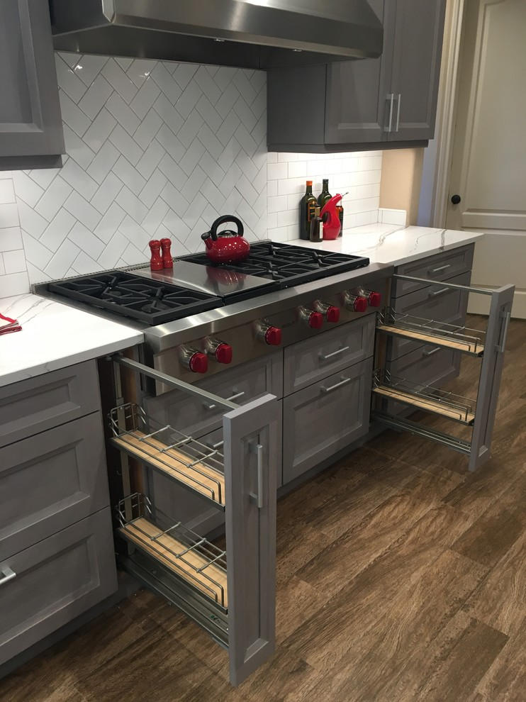 Gray Stained Walnut Cabinets and White Countertops anchor ...